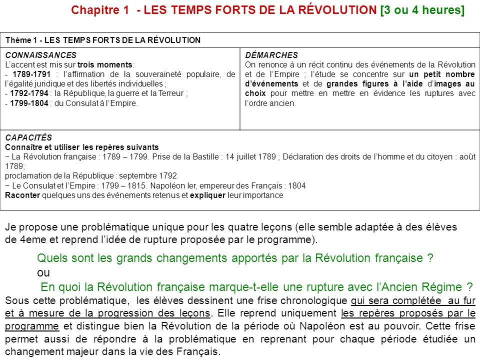 Chapitre 1 - LES TEMPS FORTS DE LA RÉVOLUTION [3 ou 4 heures]